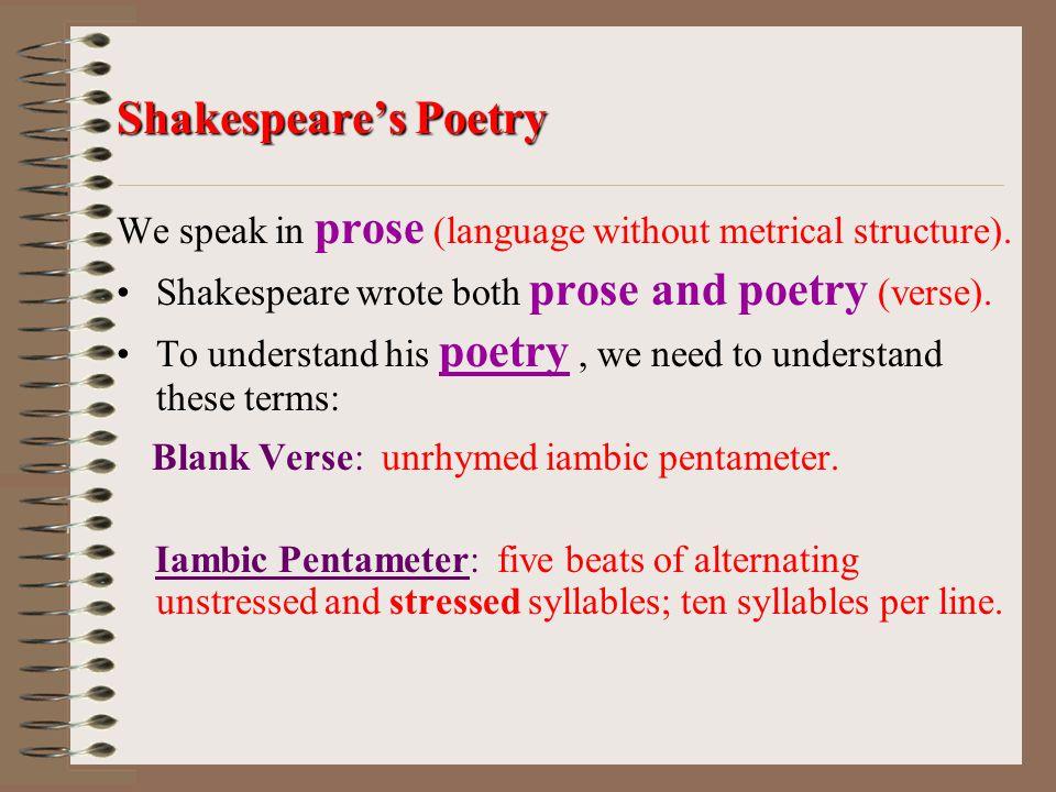 Blank Verse: unrhymed iambic pentameter.