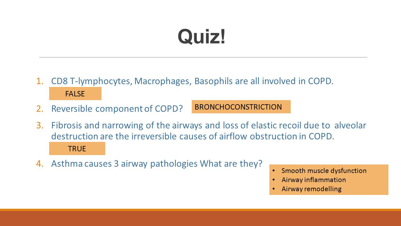 Quiz! CD8 T-lymphocytes, Macrophages, Basophils are all involved in COPD. TRUE/FALSE. Reversible component of COPD