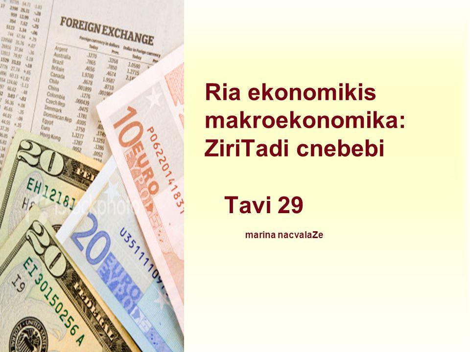 Ria ekonomikis makroekonomika: ZiriTadi cnebebi