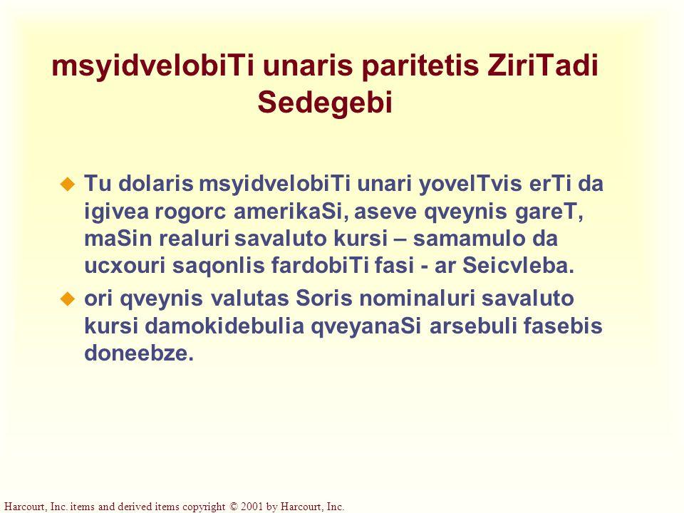 msyidvelobiTi unaris paritetis ZiriTadi Sedegebi