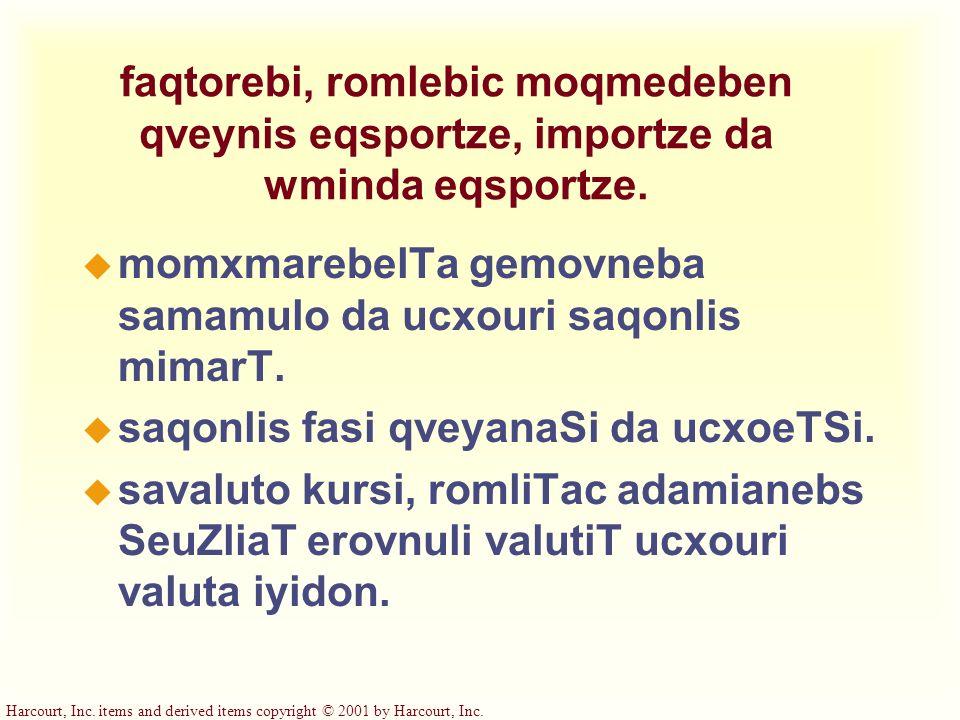 faqtorebi, romlebic moqmedeben qveynis eqsportze, importze da wminda eqsportze.