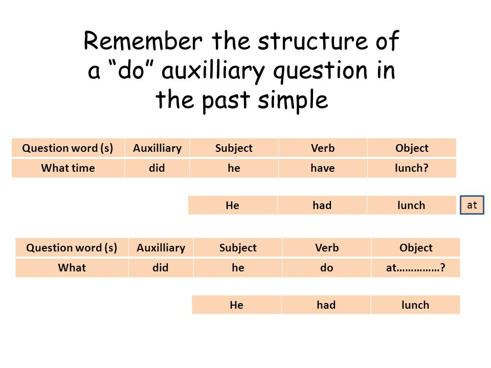 Remember the structure of a do auxilliary question in the past simple