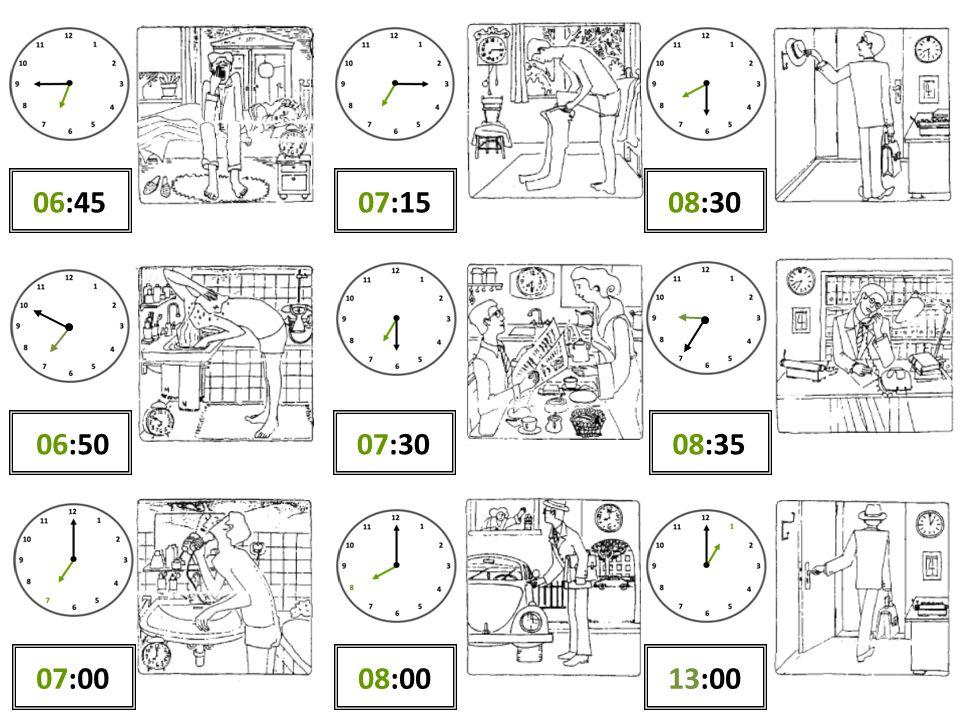 06:45 07:15 08:30 06:50 07:30 08:35 07:00 08:00 13:00
