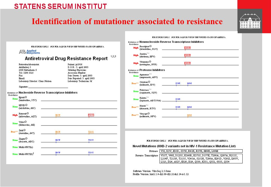 Identification of mutationer associated to resistance