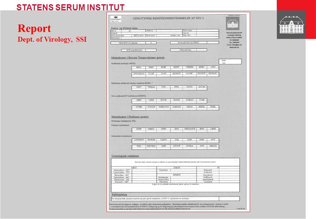 Report Dept. of Virology, SSI