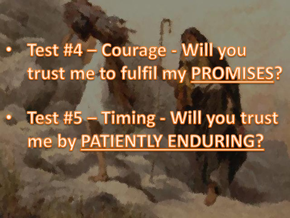 Test #4 – Courage - Will you trust me to fulfil my PROMISES