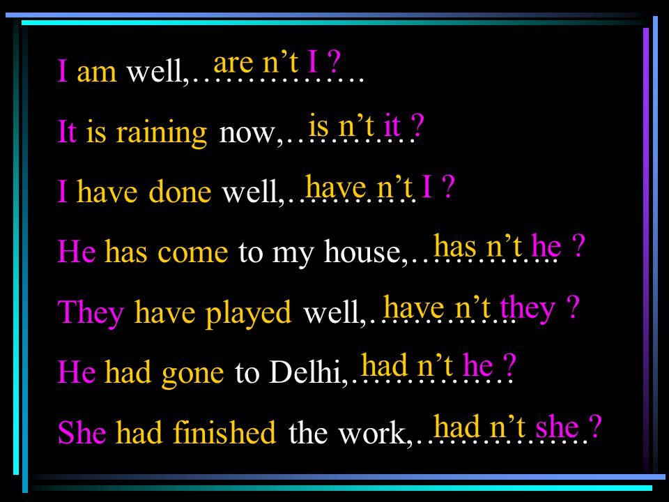 I am well,……………. It is raining now,………… I have done well,………… He has come to my house,………….. They have played well,…………..