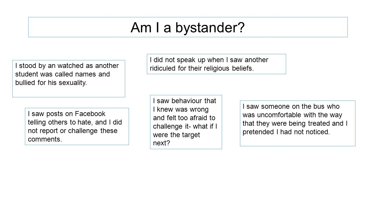 Am I a bystander I did not speak up when I saw another ridiculed for their religious beliefs.
