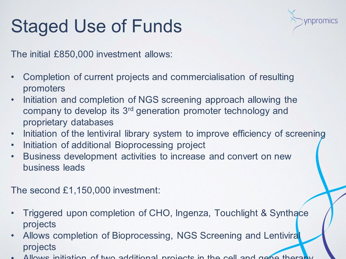 Staged Use of Funds The initial £850,000 investment allows: