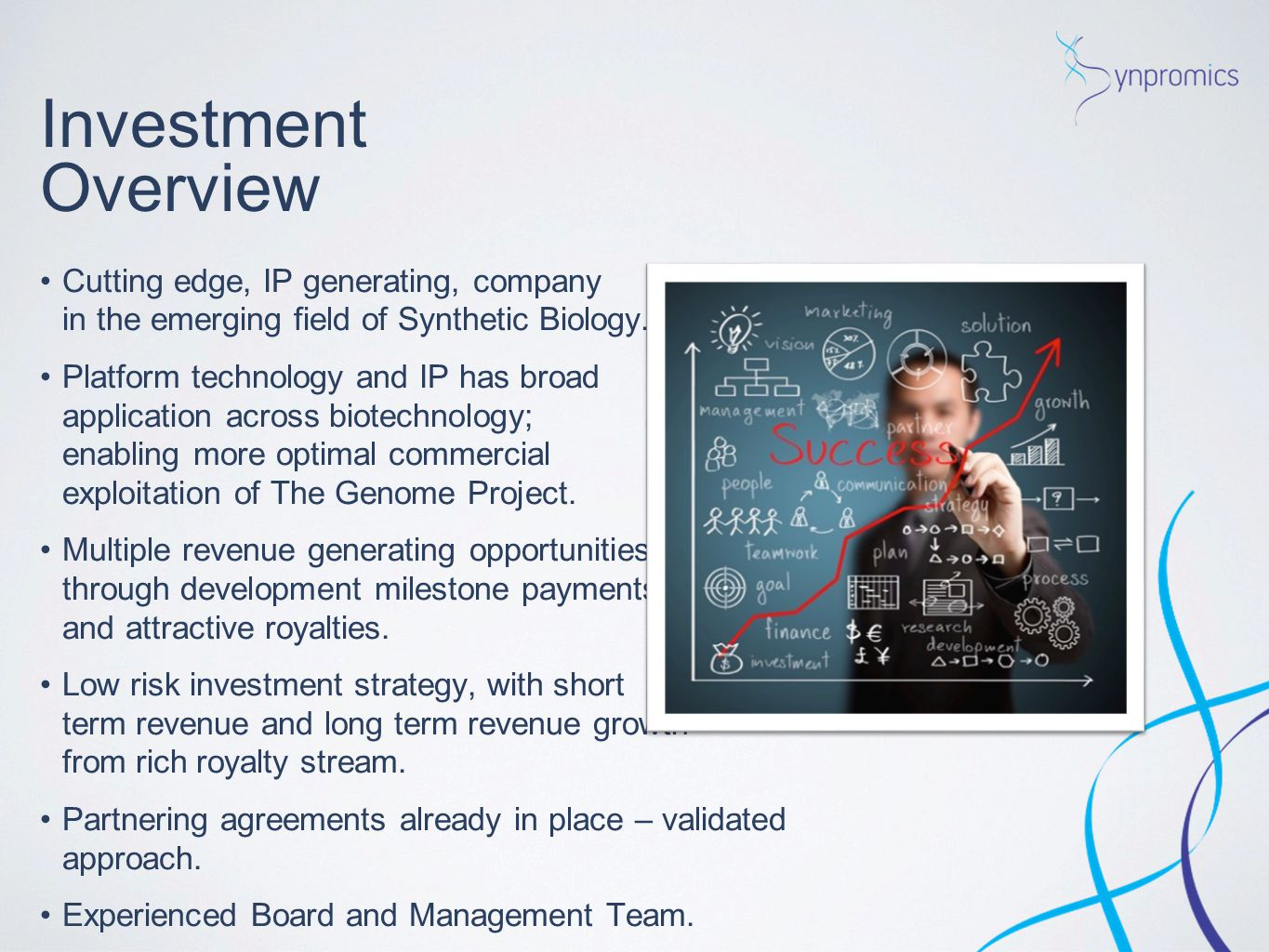 Investment Overview Cutting edge, IP generating, company in the emerging field of Synthetic Biology.