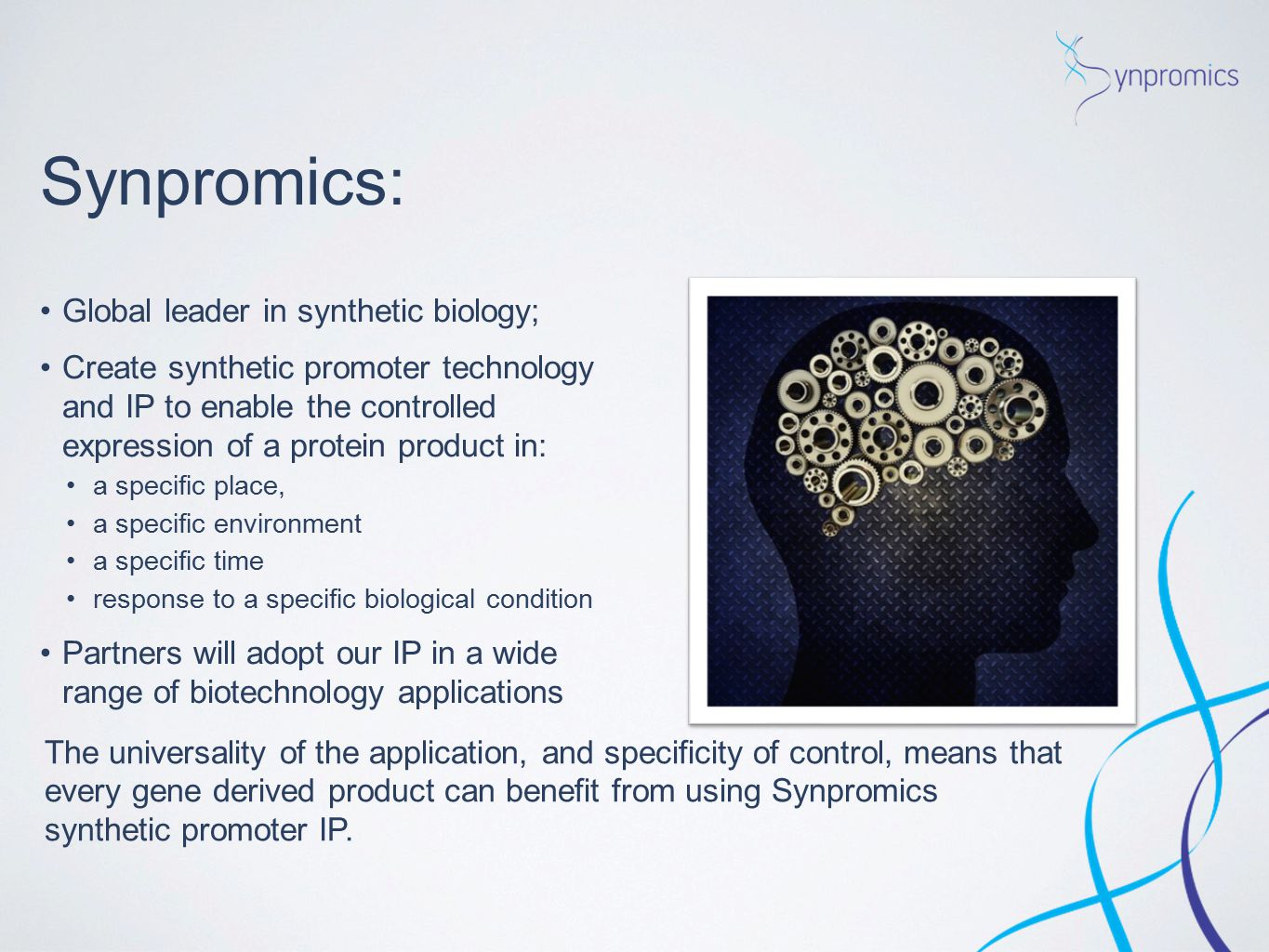 Synpromics: Global leader in synthetic biology;
