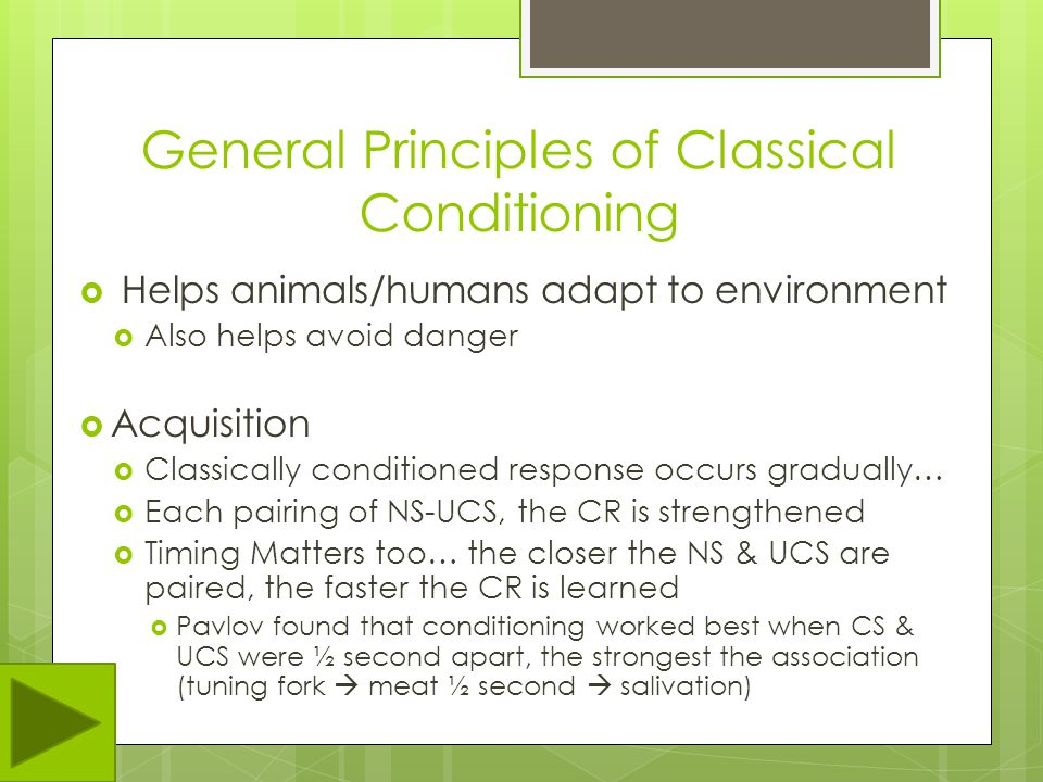 General Principles of Classical Conditioning