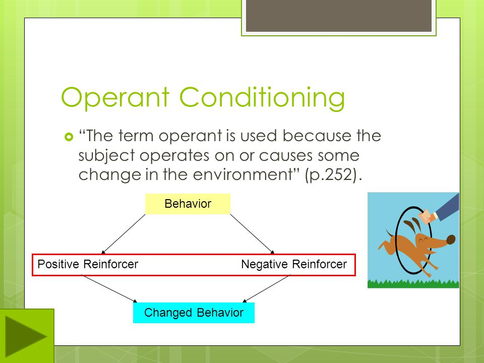 Operant Conditioning The term operant is used because the subject operates on or causes some change in the environment (p.252).