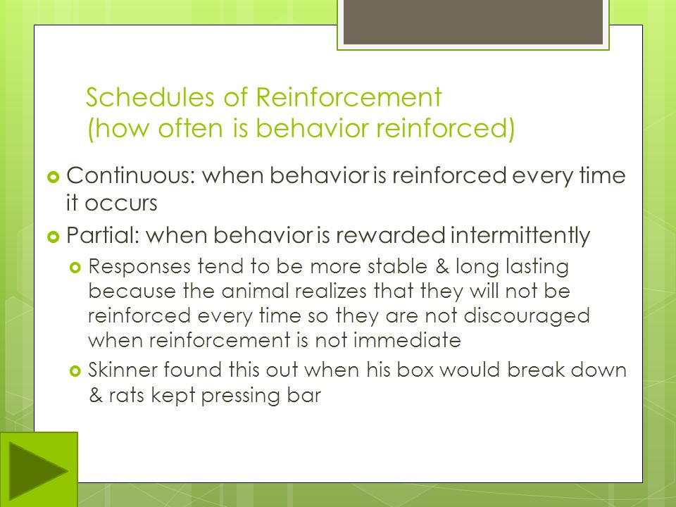 Schedules of Reinforcement (how often is behavior reinforced)