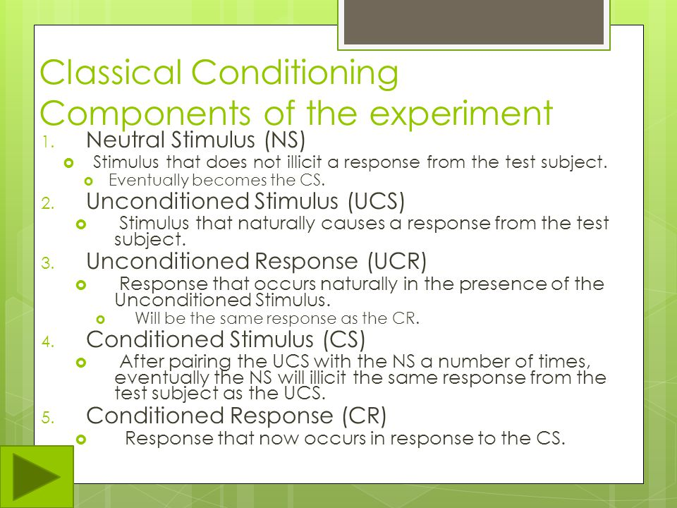 Classical Conditioning Components of the experiment