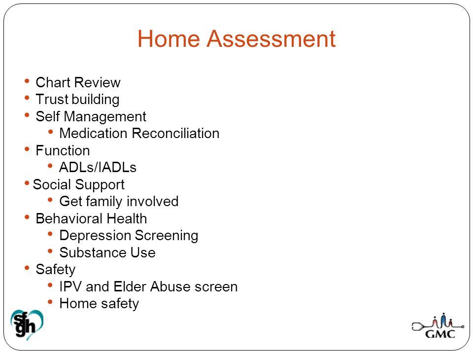 Medication Reconciliation Function ADLs/IADLs Social Support