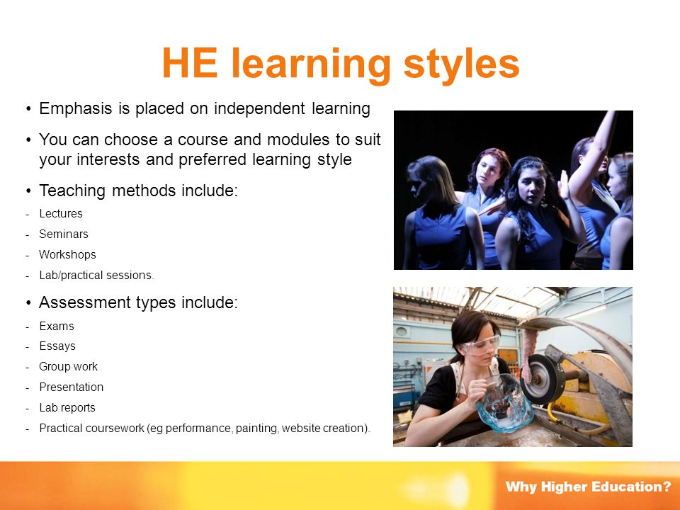 HE learning styles Emphasis is placed on independent learning