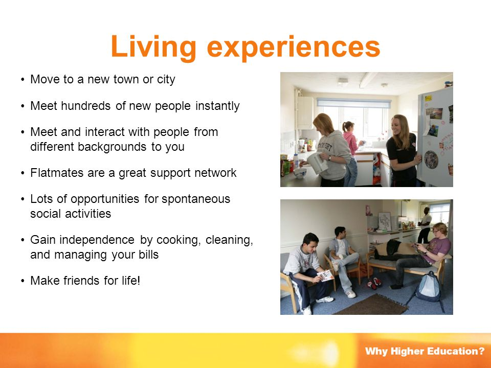 Living experiences Move to a new town or city