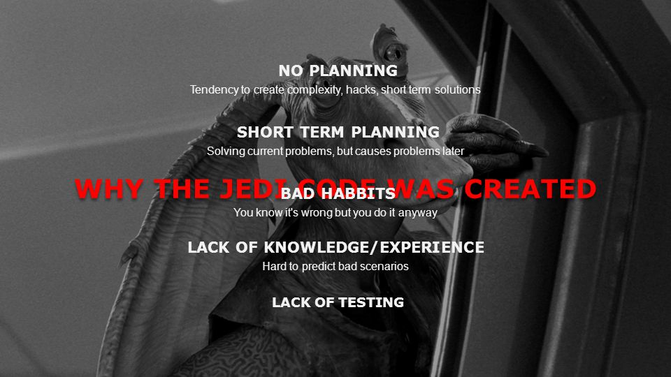 WHY THE JEDI CODE WAS CREATED LACK OF KNOWLEDGE/EXPERIENCE