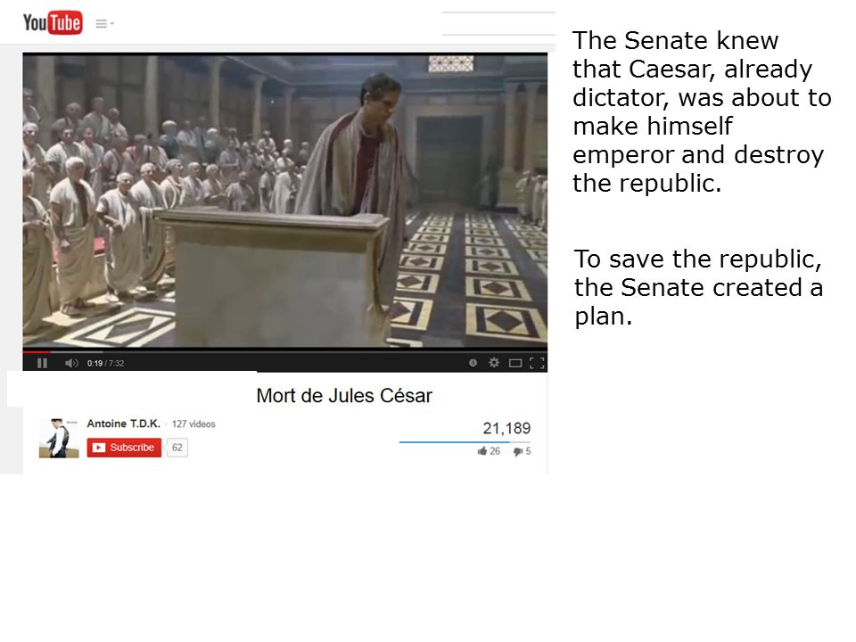 The Senate knew that Caesar, already dictator, was about to make himself emperor and destroy the republic.