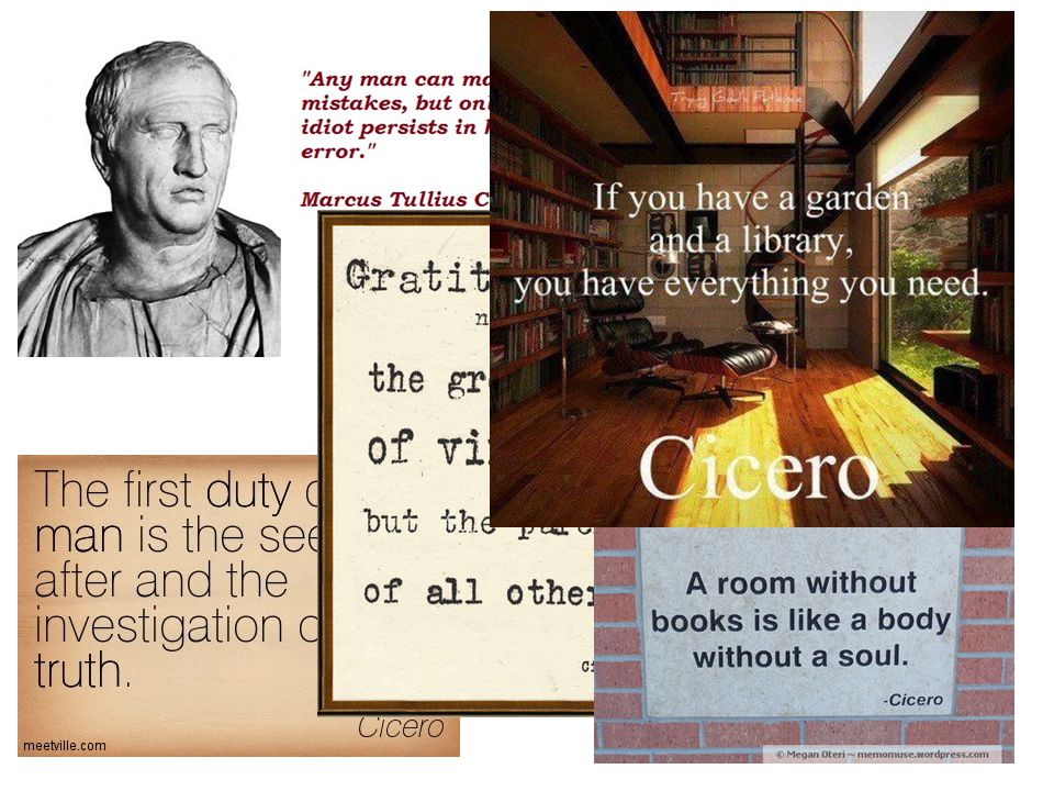 Cicero, wise man of Rome, wanted to give the power to the Senate and prevent military rule.