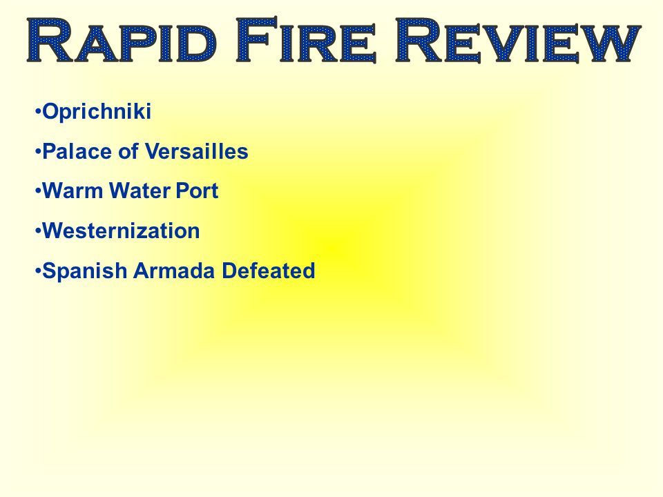 Rapid Fire Review Oprichniki Palace of Versailles Warm Water Port