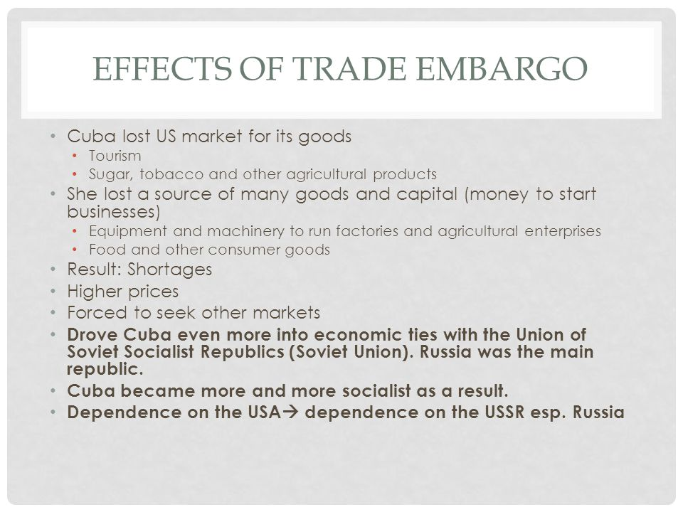 Effects of trade embargo