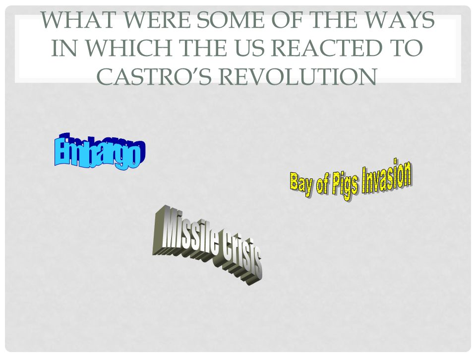 What were some of the ways in which the US reacted to Castro's revolution
