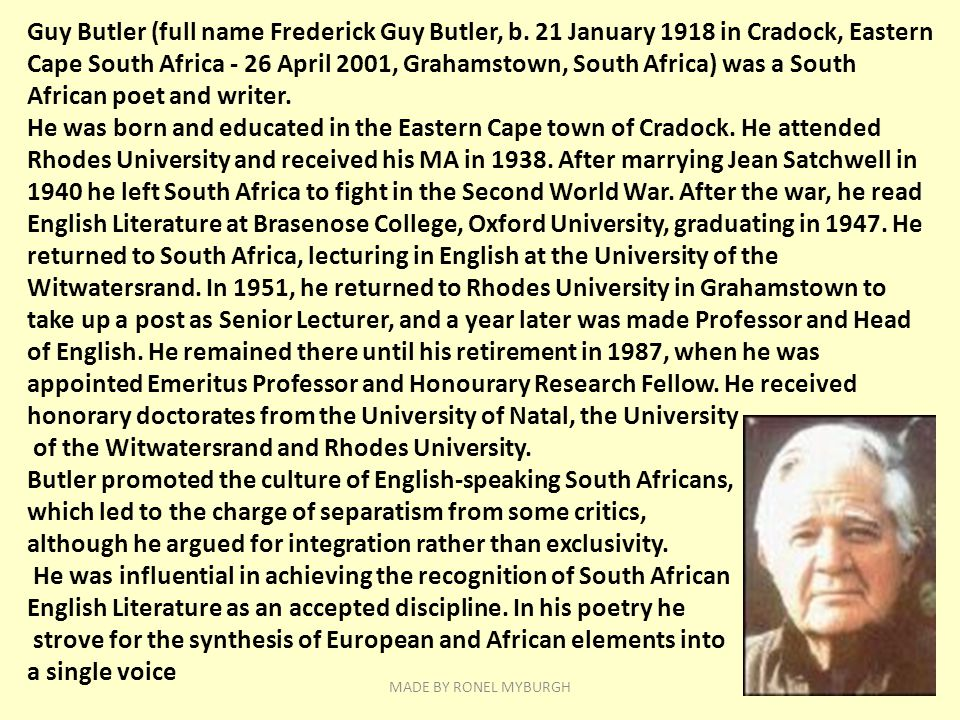 of the Witwatersrand and Rhodes University.
