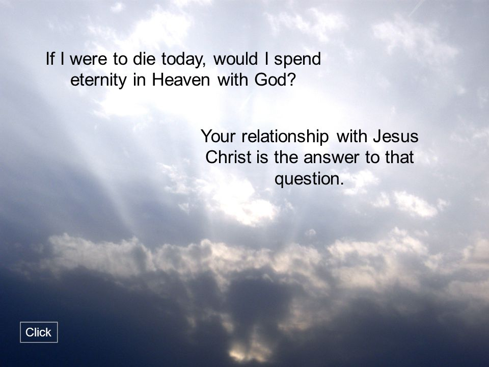 If I were to die today, would I spend eternity in Heaven with God