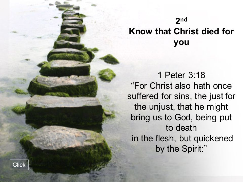 Know that Christ died for you