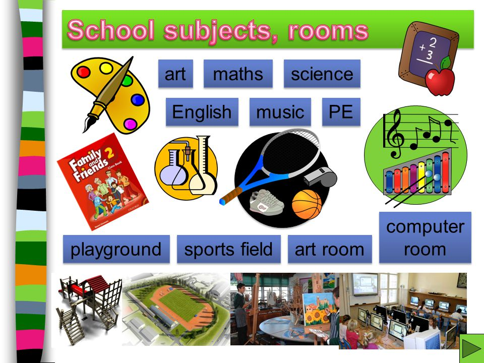 School subjects, rooms art maths science English music PE