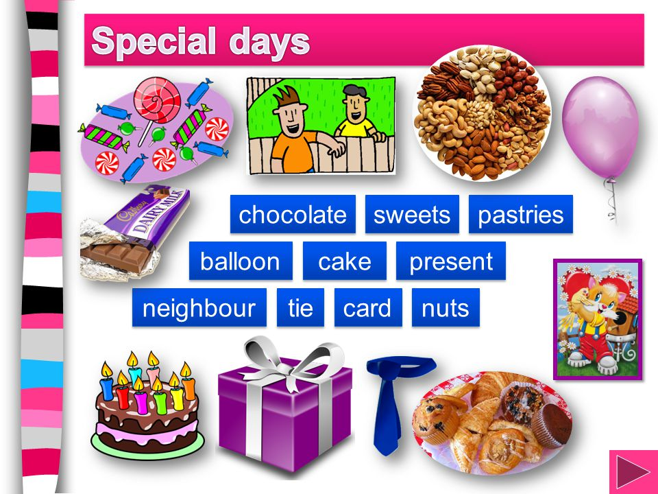 Special days chocolate sweets pastries balloon cake present neighbour