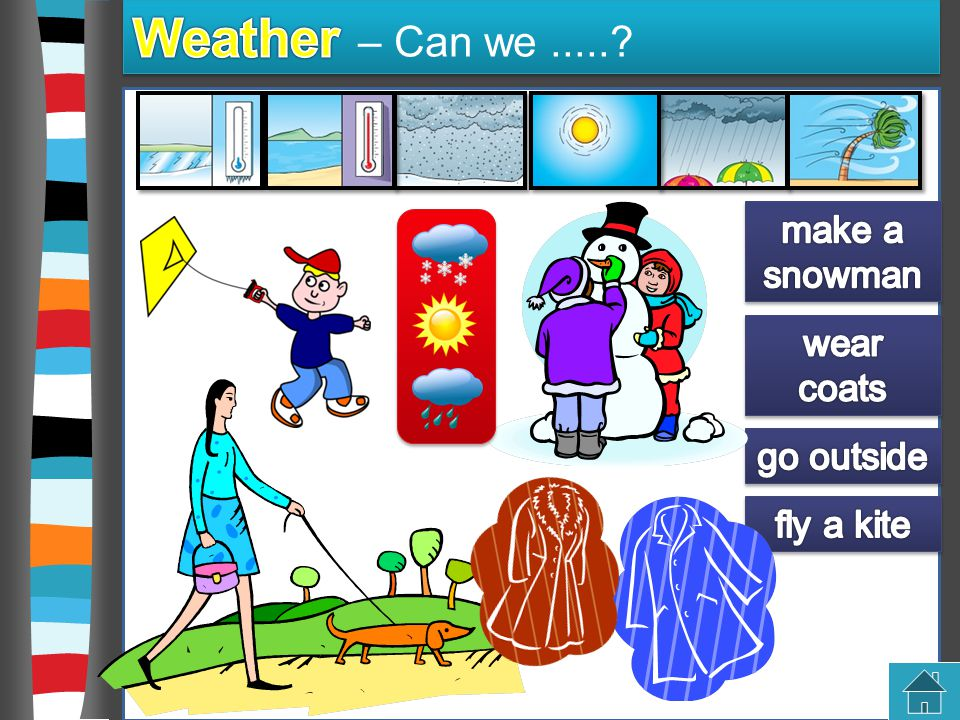 Weather – Can we ..... make a snowman wear coats go outside