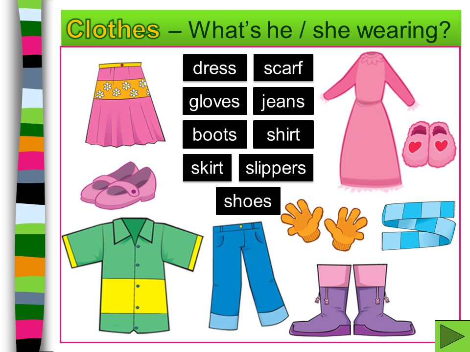 Clothes – What's he / she wearing