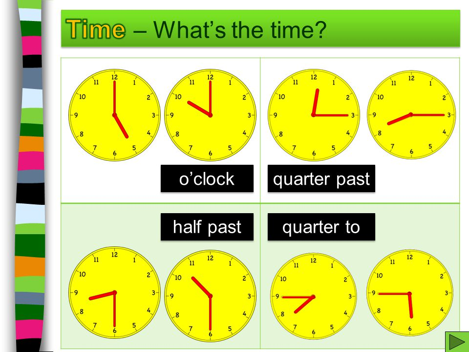 Time – What's the time o'clock quarter past half past quarter to