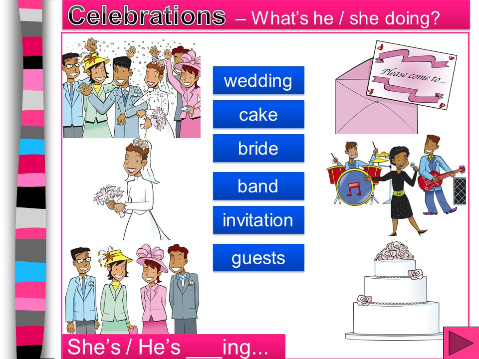 Celebrations – What's he / she doing