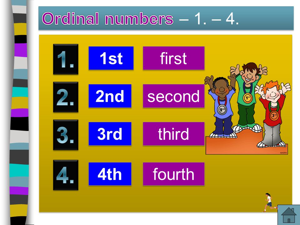 1. 2. 3. 4. Ordinal numbers – 1. – 4. 1st first 2nd second 3rd third