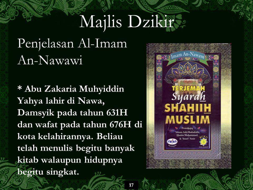 Majlis Dzikir Penjelasan Al-Imam An-Nawawi