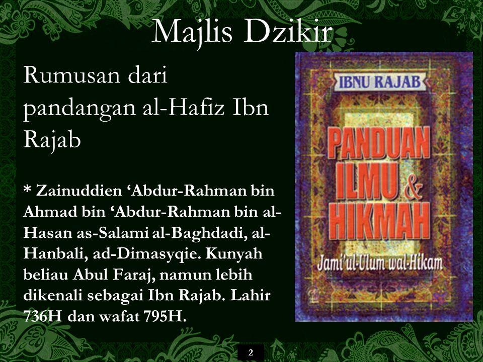 Majlis Dzikir Rumusan dari pandangan al-Hafiz Ibn Rajab