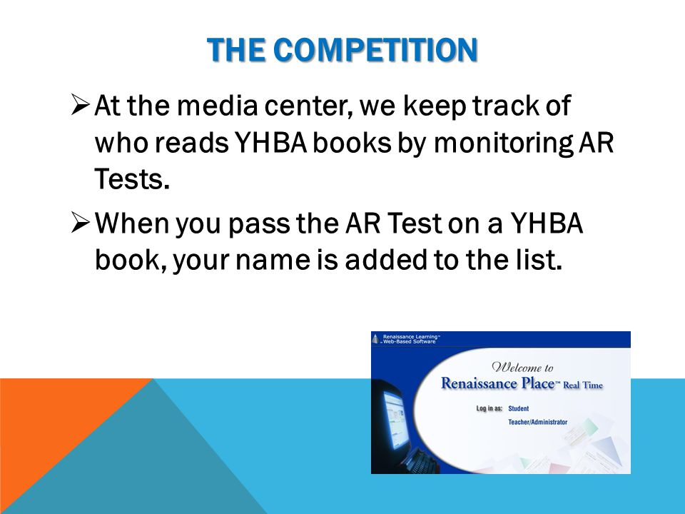 The competition At the media center, we keep track of who reads YHBA books by monitoring AR Tests.