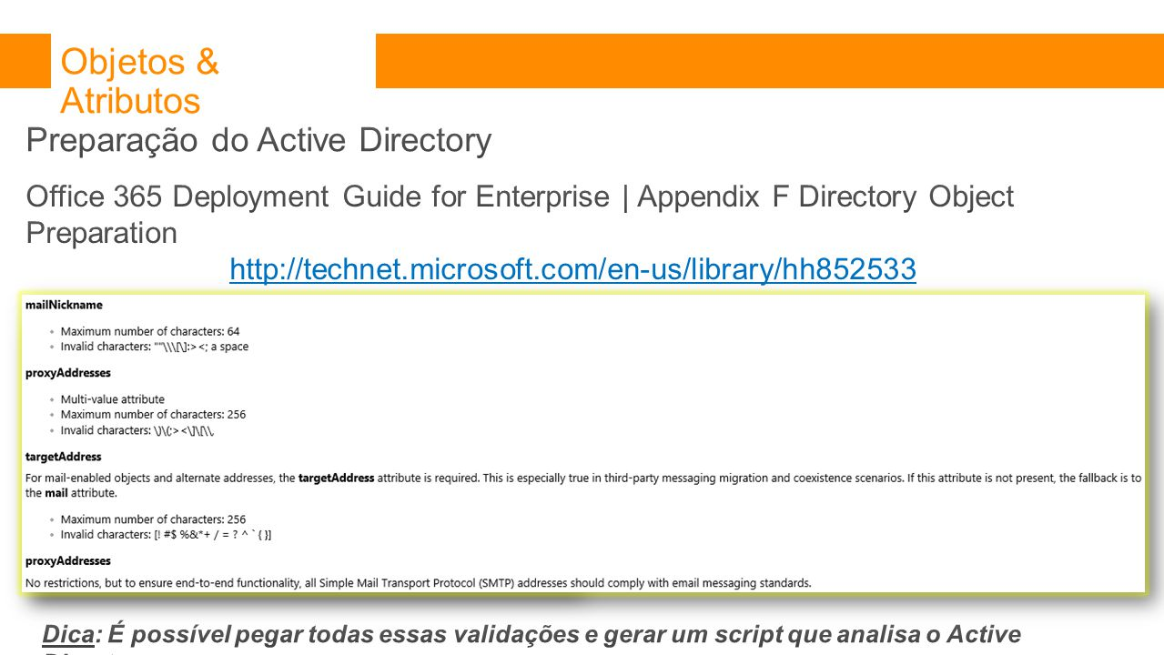 Objetos & Atributos Preparação do Active Directory