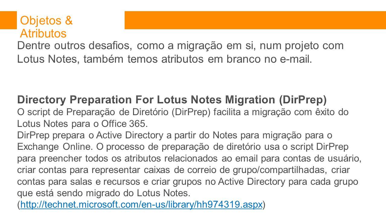 Objetos & Atributos Dentre outros desafios, como a migração em si, num projeto com Lotus Notes, também temos atributos em branco no e-mail.