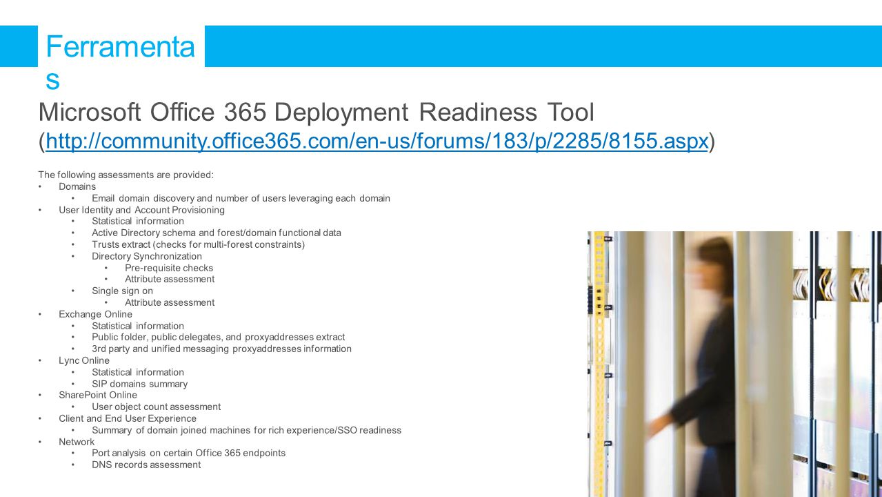 Ferramentas Microsoft Office 365 Deployment Readiness Tool