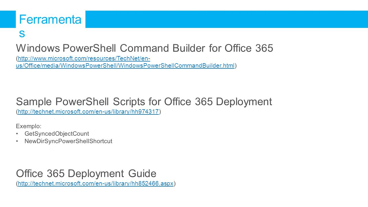 Ferramentas Windows PowerShell Command Builder for Office 365