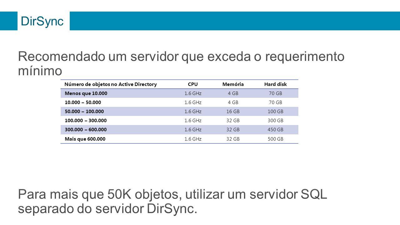 Recomendado um servidor que exceda o requerimento mínimo