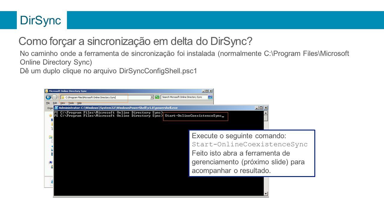 DirSync Como forçar a sincronização em delta do DirSync