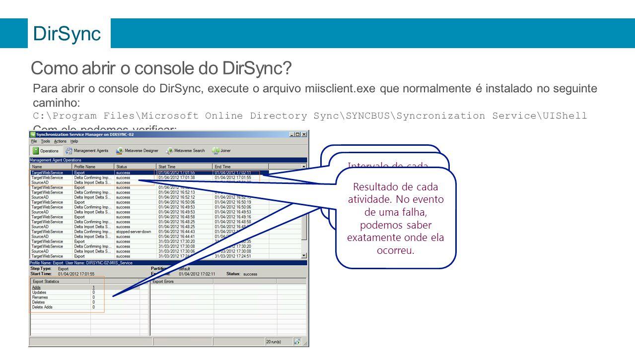 DirSync Como abrir o console do DirSync