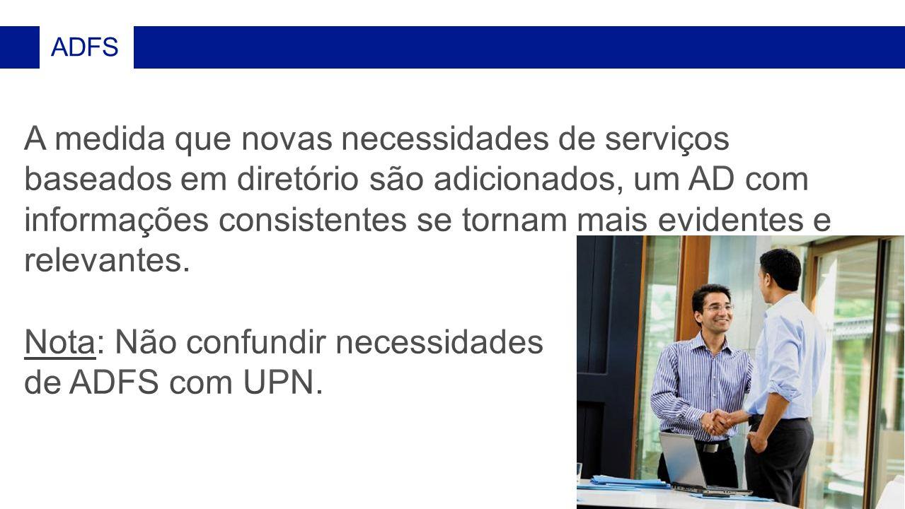 Nota: Não confundir necessidades de ADFS com UPN.
