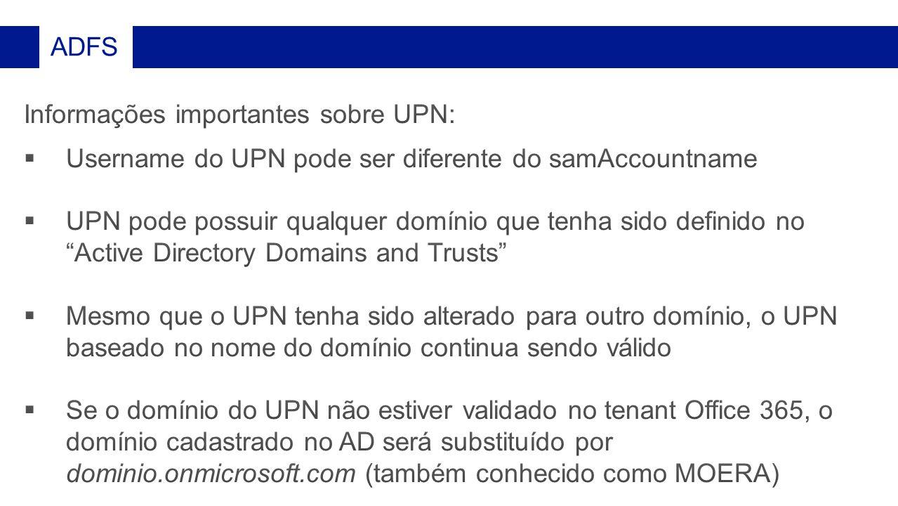 Informações importantes sobre UPN: